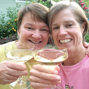 Joanne and Kathy celebrating