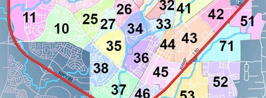 partial area district map with colors and numbers