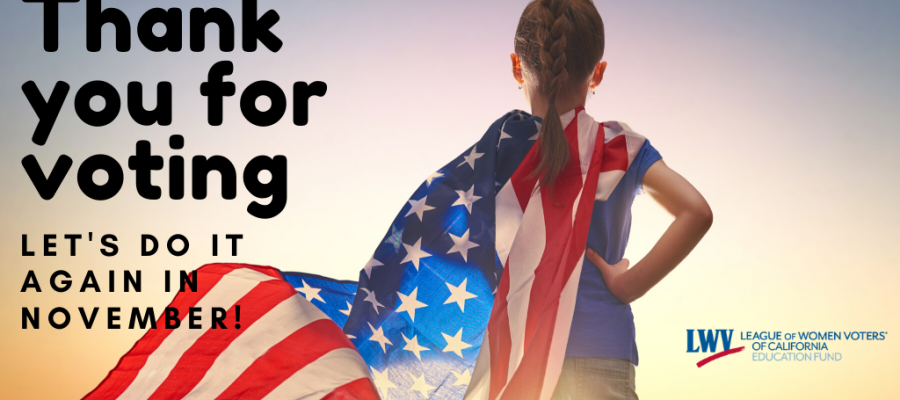 Thank you for voting girl with american flag cape