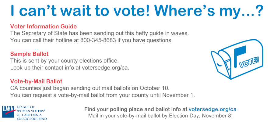 voting informatio, voter guides, elections, california, League of WOmen Voters, help, sample ballot, vote by mail