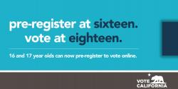 pre-registration image for young voters, elections, california, vote